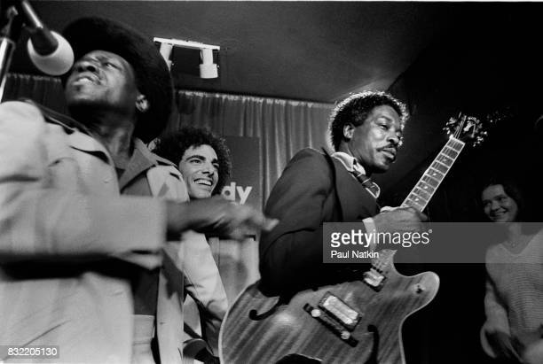 Neal Schon of Journey center with Junior Wells left and Buddy Guy at Biddy Mulligans in Chicago Illinois May 25 1980