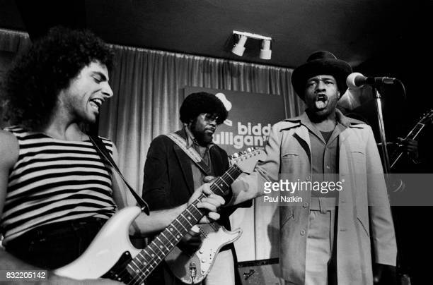 Neal Schon of Journey left with Junior Wells right and Buddy Guy at Biddy Mulligans in Chicago Illinois May 25 1980