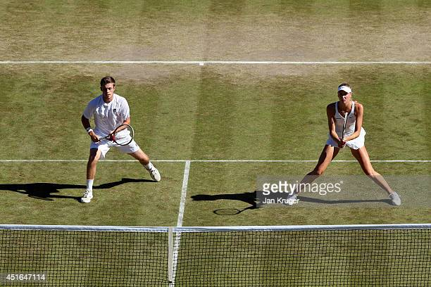 Neal Skupski and Naomi Broady of Great Britain play in a Mixed Doubles third round match against Florin Mergea of Romania and Elina Svitolina of...