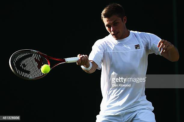 Neal Skupski of Great Britain during his Mixed Doubles first round match with Naomi Broady against Robert Farah of Colombia and Darija Jurak of...