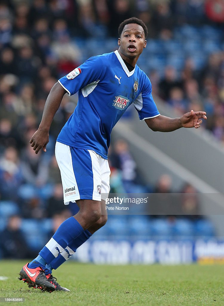 Neal Trotman of Chesterfield in action during the npower League Two match between Chesterfield and Northampton Town at the Proact Srtadium on January 12, 2013 in Chesterfield, England.