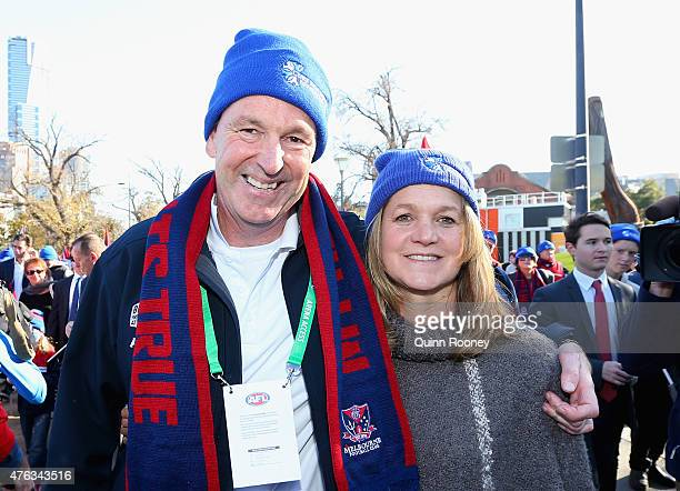 Neale Daniher and his wife Jan walk to the MCG ahead of the round 10 AFL match between the Melbourne Demons and the Collingwood Magpies at Melbourne...
