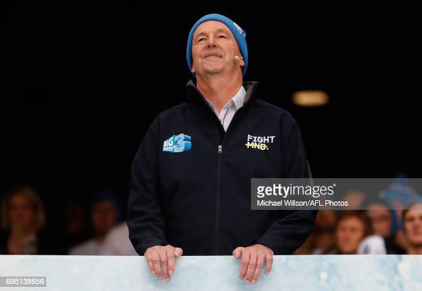 Neale Daniher looks on as part of the Big Freeze 3 during the 2017 AFL round 12 match between the Melbourne Demons and the Collingwood Magpies at...