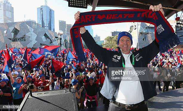 Neale Daniher poses at Federation Square before leading the walk to the MCG ahead of the round 10 AFL match between the Melbourne Demons and the...