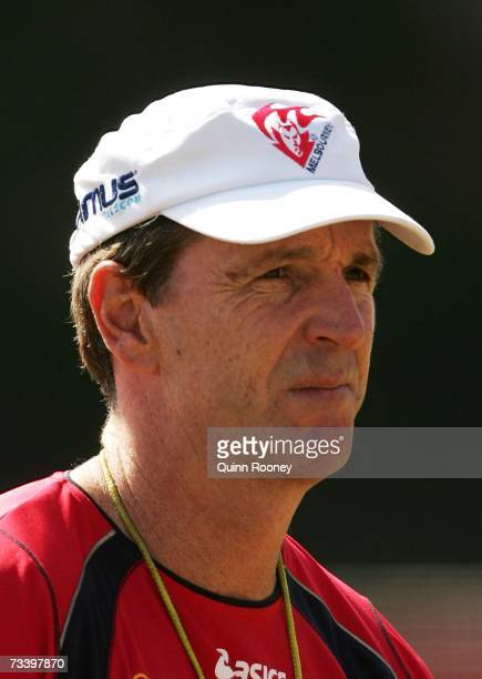 Neale Daniher the coach of the Demons watches on during a Melbourne Demons AFL training session at Sandringham Football Ground on February 23 2007 in...