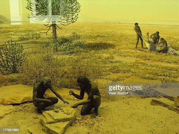 Neandertaler beim Steineklopfen und Schlachten eines Zebras †berseeMuseum Bremen Deutschland Europa Reise