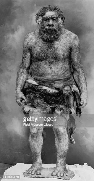 Neanderthal man figure by Frederick Blaschke before installation in exhibit early 1930s