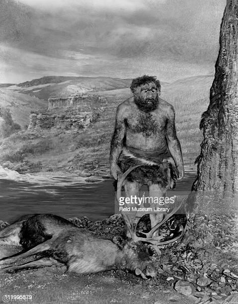 Neanderthal man figure with dead elk deer or moose near cave early 1930s