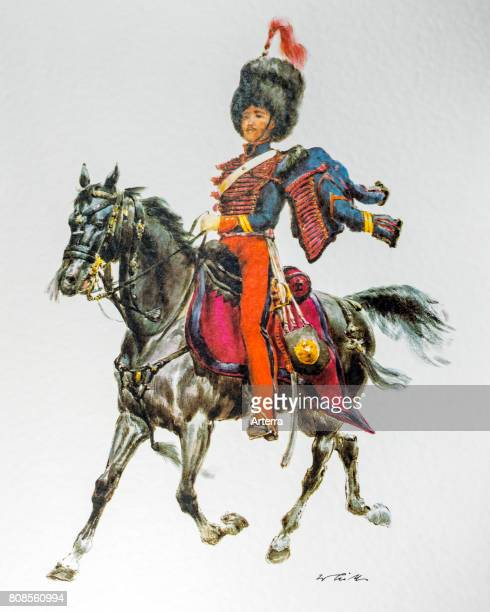 Neapolitan officer on horseback in uniform of the 1851 guides of the General Staff of Naples Italy