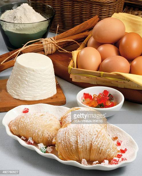 Neapolitan puff pastries filled with ricotta cheese and candied fruit Campania Italy
