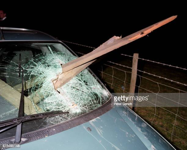 Near Bristol a car has crashed into a fence on a country road the driver was suspected of being under the influence of alcohol November 2001