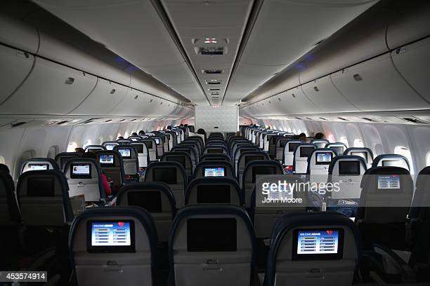 A near empty Delta Airlines flight from New York's JFK airport to Liberia prepares to land on August 13 2014 near Monrovia Liberia The flight was...