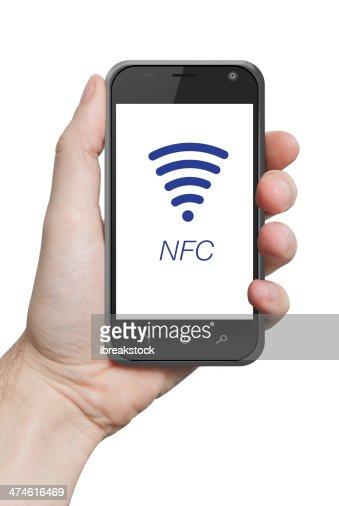 NFC cerca de campo de comunicación : Foto de stock