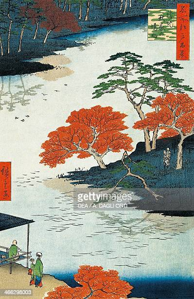 Near the Shinto temple of Akiba ukiyoe art print by Utagawa Hiroshige from The hundred famous views of Edo No 91 Obantatee woodcut 38x255 cm Japanese...
