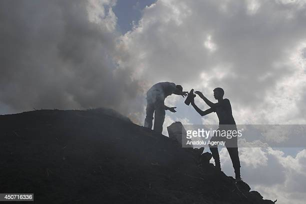 Nearly 400 Palestinians work at charcoal production to earn 14 Dollars per day in smoke and carbon dioxide fumes in Jenin West Bank on June 11 2014