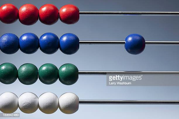 Neat rows of colored beads on an abacus with a single blue bead to the side