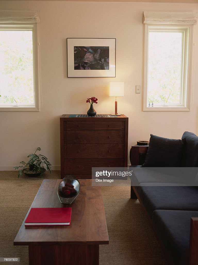 Neatly arranged furniture in the living room : Stock Photo