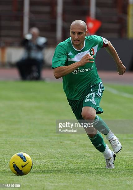 Nebojsa Jelenkovic of PFC Litex Lovech in action during the Bulgarian A PFG League match between PFC CSKA Sofia and PFC Litex Lovech held on May 19...