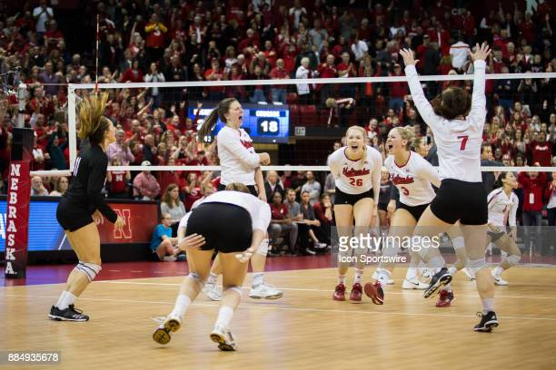 Nebraska celebrates their win over Washington State in the third set Saturday December 2nd at the Devaney Center in Lincoln Nebraska Nebraska sweeps...