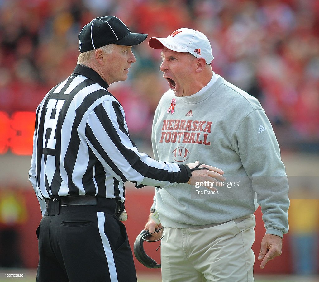 Nebraska Cornhusker head coach <a gi-track='captionPersonalityLinkClicked' href=/galleries/search?phrase=Bo+Pelini&family=editorial&specificpeople=4682479 ng-click='$event.stopPropagation()'>Bo Pelini</a> reacts to a penalty during their game against the Michigan State Spartans at Memorial Stadium October 29, 2011 in Lincoln, Nebraska. Nebraska defeated Michigan State 24-3.