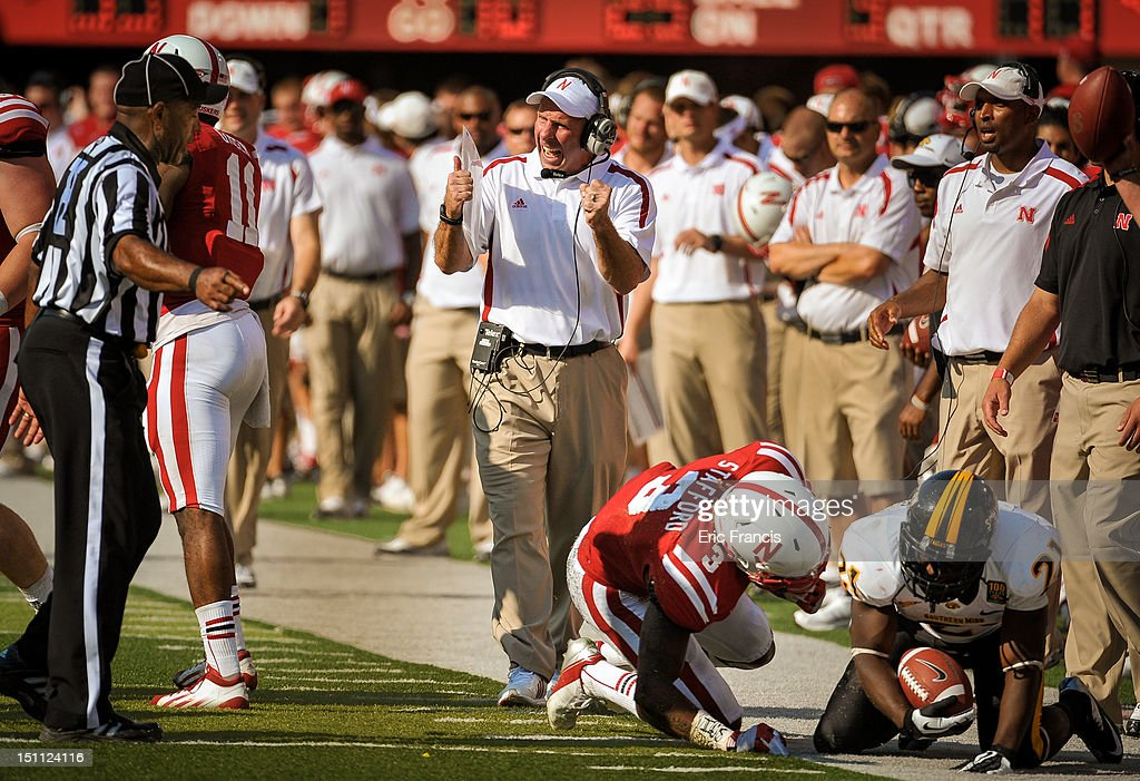 Nebraska Cornhuskers coach Bo Pelini asked for a holding call by the Southern Miss Golden Eagles during their game at Memorial Stadium on September 1, 2012 in Lincoln, Nebraska. Nebraska won 40-20.