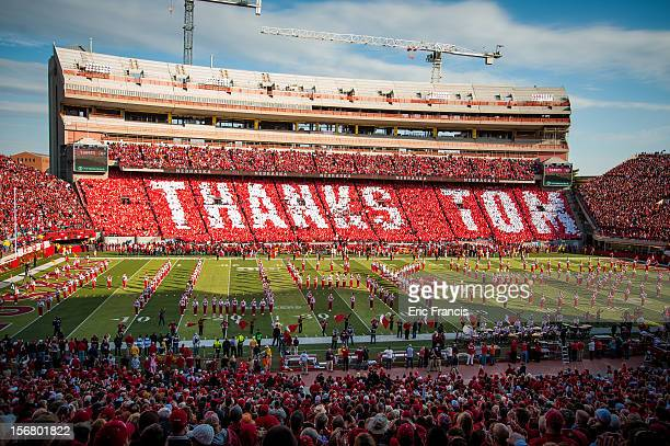 Nebraska Cornhuskers football and it's fans gave special thanks to retiring Athletic Director and former coach Tom Osborne during pre game activities...