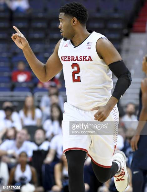 Nebraska Cornhuskers forward Jeriah Horne reacts after making a three point basket against the Penn State Nittany Lions in the first round of the Big...
