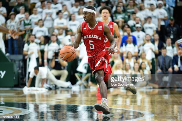 Nebraska Cornhuskers guard Glynn Watson Jr races the ball up court during a Big Ten conference college basketball game between Michigan State and...