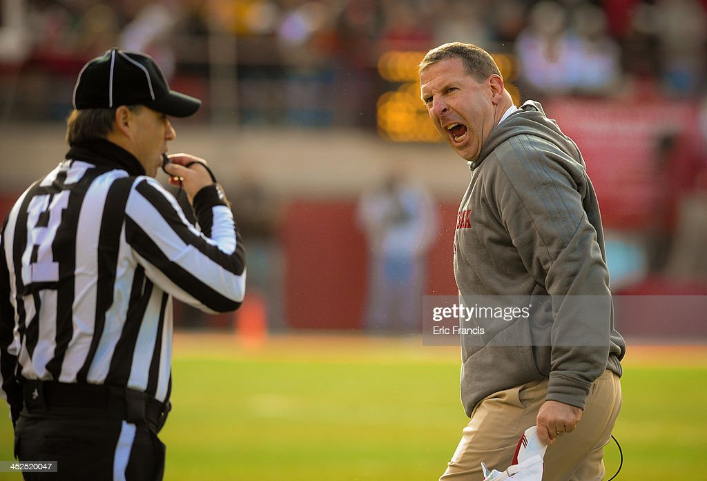 Nebraska Cornhuskers head coach <a gi-track='captionPersonalityLinkClicked' href=/galleries/search?phrase=Bo+Pelini&family=editorial&specificpeople=4682479 ng-click='$event.stopPropagation()'>Bo Pelini</a> reacts to a call during their game at against the Iowa HawkeyesMemorial stadium on November 29, 2013 in Lincoln, Nebraska.