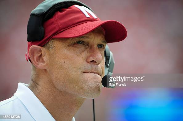 Nebraska Cornhuskers head coach Mike Riley during their game against the Brigham Young Cougars at Memorial Stadium on September 5 2015 in Lincoln...