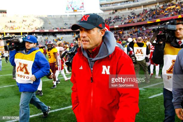 Nebraska Cornhuskers head coach Mike Riley walks off the field after the Big Ten Conference game between the Nebraska Cornhuskers and the Minnesota...