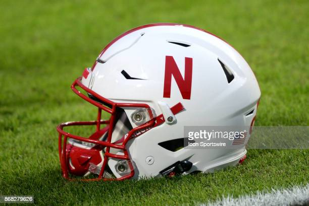 Nebraska Cornhuskers helmet sits on the field before the start of the Big Ten conference game between the Purdue Boilermakers and the Nebraska...