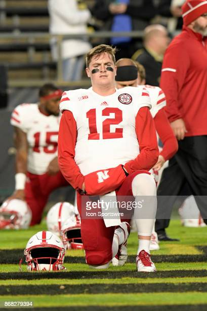 Nebraska Cornhuskers quarterback Patrick O'Brien stretches during warm ups for the Big Ten conference game between the Purdue Boilermakers and the...