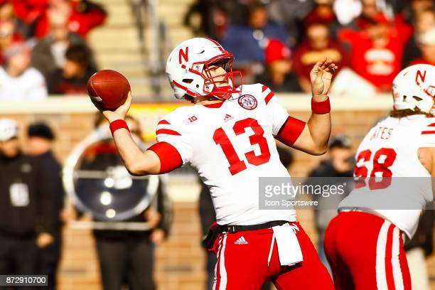 Nebraska Cornhuskers quarterback Tanner Lee throws a pass during the Big Ten Conference game between the Nebraska Cornhuskers and the Minnesota...