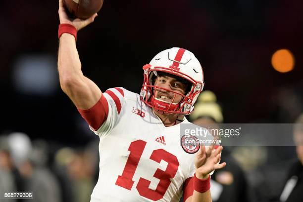 Nebraska Cornhuskers quarterback Tanner Lee warms up for the Big Ten conference game between the Purdue Boilermakers and the Nebraska Cornhuskers on...