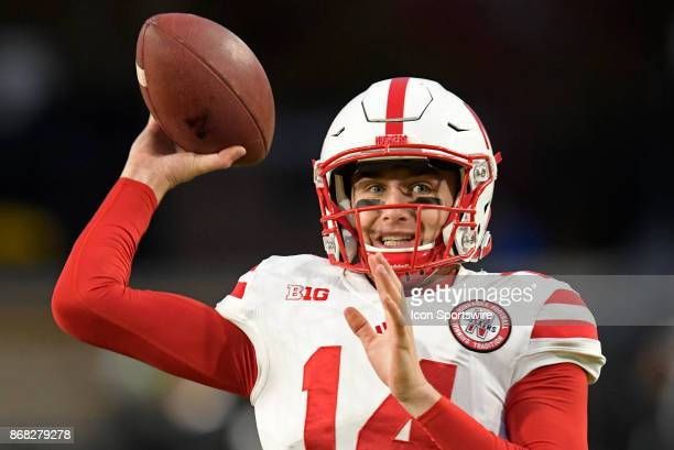 Nebraska Cornhuskers quarterback Tristan Gebbia warms up for the Big Ten conference game between the Purdue Boilermakers and the Nebraska Cornhuskers...