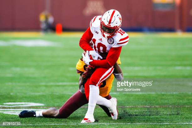 Nebraska Cornhuskers wide receiver JD Spielman is tackled in the 2nd quarter during the Big Ten Conference game between the Nebraska Cornhuskers and...