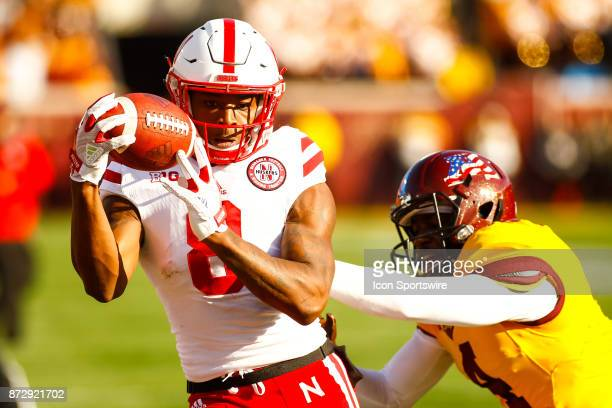 Nebraska Cornhuskers wide receiver Stanley Morgan Jr catches a pass in the 4th quarter during the Big Ten Conference game between the Nebraska...
