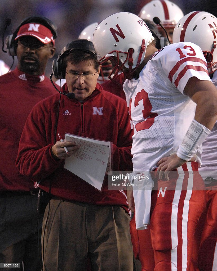 Nebraska head coach Bill Callahan set up a play with quarterback Zac Taylor (13) in the second half at Bill Snyder Family Stadium in Manhattan, Kansas, October 14, 2006. The Huskers beat the Wildcats 21-3.
