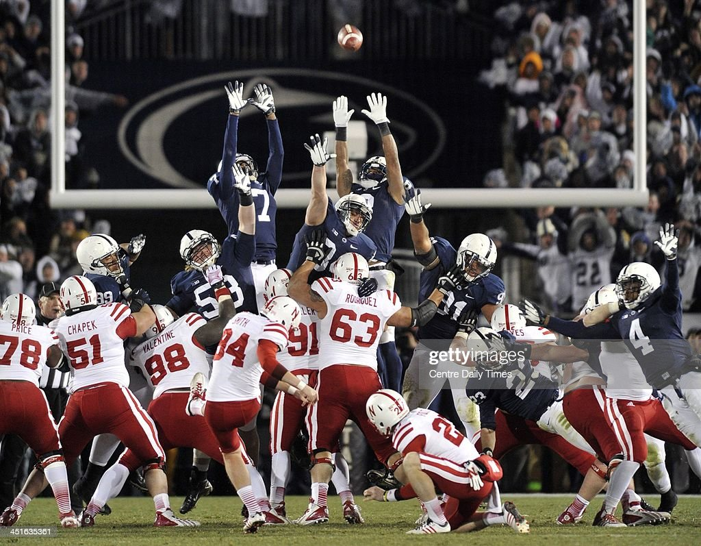 Nebraska kicker Pat Smith converts the game-winning field goal in overtime against Penn State at Beaver Stadium in University Park, Pa., on Saturday, Nov. 23, 2013. Nebraska won, 23-20.