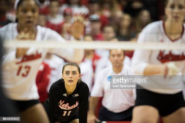 Nebraska libero Kenzie Maloney ready for a serve from Washington State in the third set Saturday December 2nd at the Devaney Center in Lincoln...