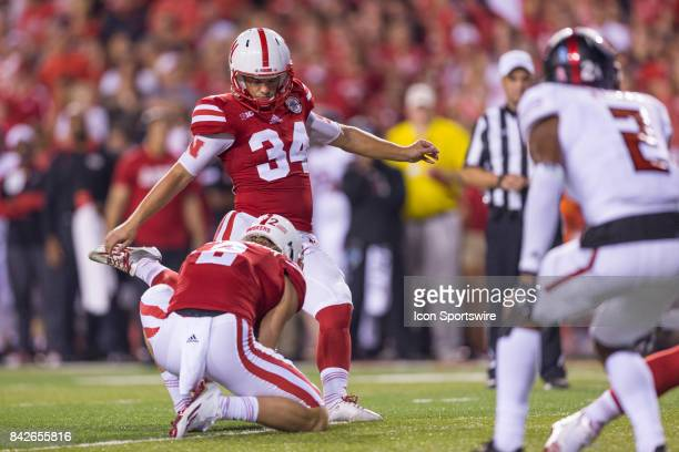 Nebraska place kicker Drew Brown kicks a field goal during the second half against the Arkansas State Red Wolves on September 02 2017 at Memorial...