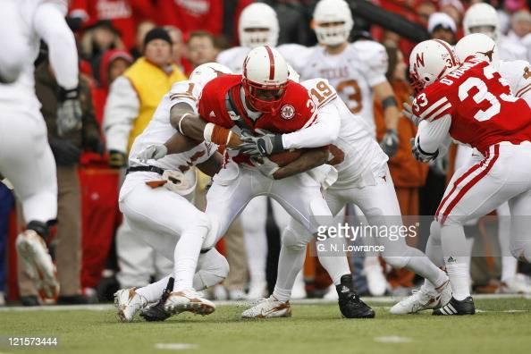Nebraska running back Brandon Jackson is tackled during action between the Texas Longhorns and Nebraska Cornhuskers on October 21 2006 at Memorial...