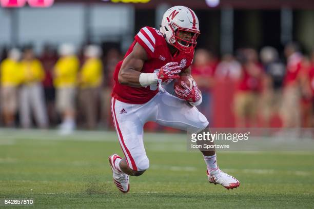 Nebraska running back Tre Bryant runs with the ball during the first half against the Arkansas State Red Wolves on September 02 2017 at Memorial...