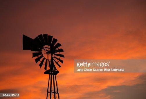 Nebraska Windmill Sunset : Stock Photo