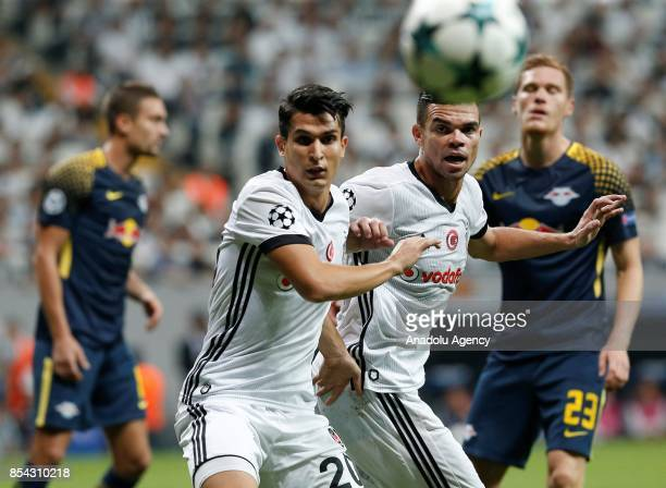 Necip Uysal and Pepe of Besiktas in action during a UEFA Champions League Group G match between Besiktas and Leipzig at Vodafone Park in Istanbul...