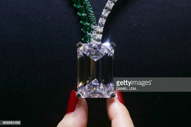 A necklace known as Creation I featuring a 16341 carat DColour Flawless diamond and created by Swiss jewellers de GRISOGONO is pictured during a...