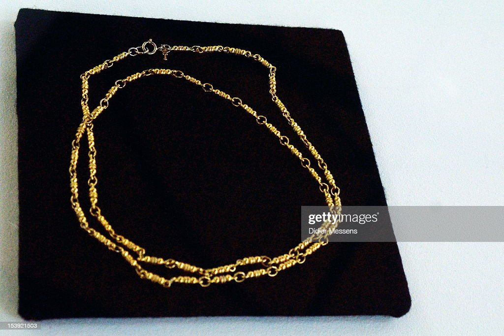 A necklace that Romy Schneider gave to Marlene Dietrich asa gift is shown as part of The Romy Schneider Exhibition at Caermersklooster which is part of The Romy Schneider Exhibition Exhibition at Caermersklooster on October 11, 2012 in Ghent, Belgium.