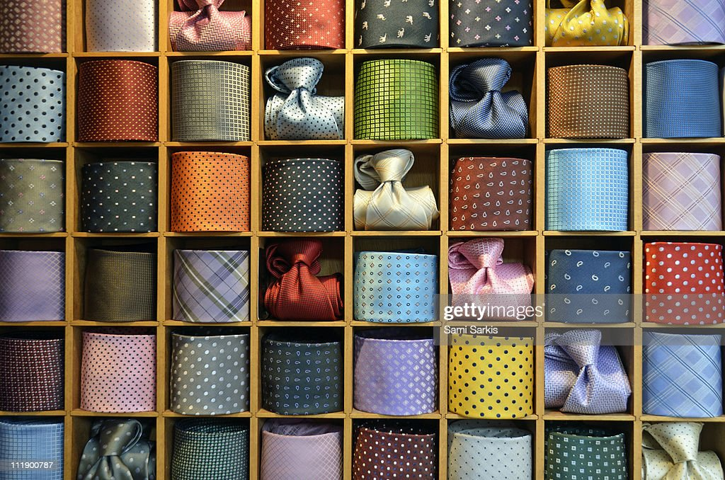 Neckties displayed in store, Venice, Italy : Stock Photo