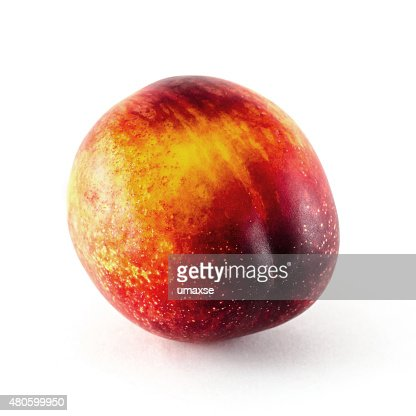 Nectarine fruit isolated on white background : Stock Photo